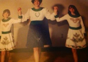 My sister, mom, and I in our Irish dance dresses.