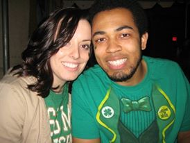 My husband and I out for St. Patrick's Day.