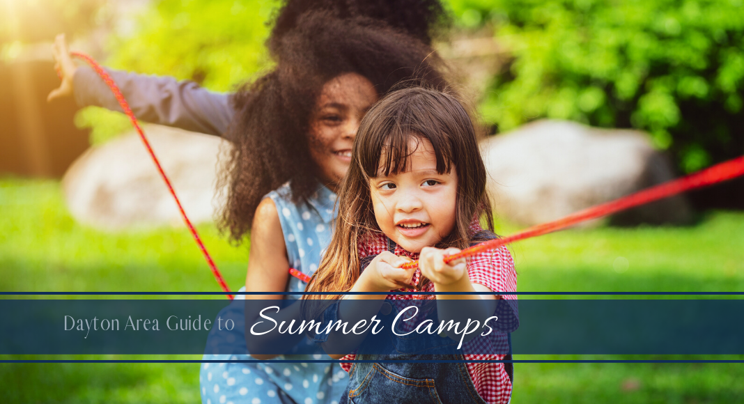 Summer Camp Title Image with Kids Playing Tug of War